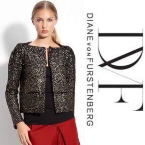 Nwot DIANE von FURSTENBERG Embellish Jacket Size L